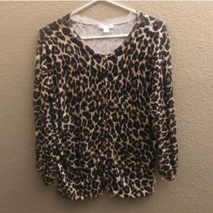 New York & Company Leopard Print Cardigan Large
